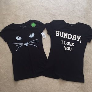 Wildfox, glow in the dark cat shirts